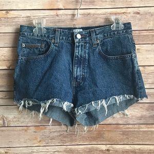 Calvin Klein High Waist Cut Off Jean Shorts Sz 6